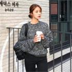 Round-neck M Lange Knit Top Black - One Size