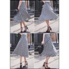 Buttoned Gingham A-line Midi Skirt