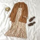 Spaghetti Strap Floral Print Midi A-line Dress / Blazer