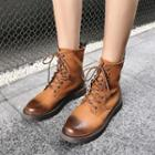 Genuine Leather Lace Up Combat Ankle Boots