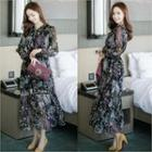 Floral Print Maxi Chiffon Dress