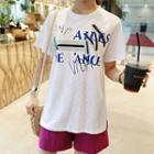 Embellished Lettering-print T-shirt