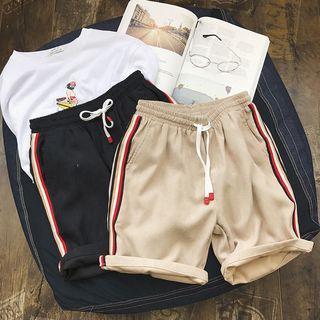 Striped Trim Drawstring Sweat Shorts