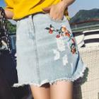 Embroidered Embroidered Denim Skirt