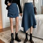 Crinkled Mini A-line Skirt / Slit Midi Skirt