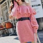 Ruffle Trim Sweater Dress