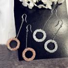 Rhinestone Ring Drop Hook Earrings