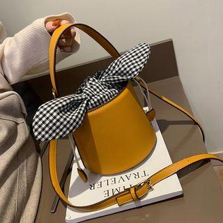 Plaid Knot Bucket Bag