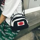 Contrast Trim Canvas Shoulder Bag