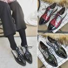 Color Block Pointed Lace-up Shoes