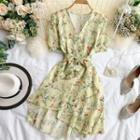 V Collar Floral Chiffon Dress