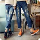 Distressed Straight-leg Cropped Jeans