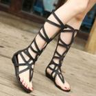 Strappy Cutout Flat Sandals