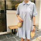 Lettering Elbow Sleeve Polo Shirt Dress