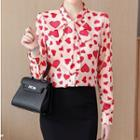 Heart Print Lace-up Blouse