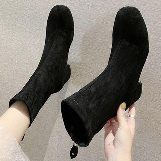 Chunky Heel Zip-up Back Short Boots