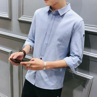 3/4-sleeve Contrast Buttoned Shirt
