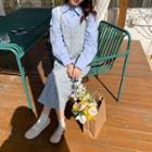 Spaghetti Strap Floral Print Midi A-line Dress Blue - One Size