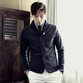 Shawl-collar Contrast-trim Cardigan