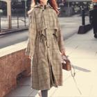 Bungee Cord Hooded Long Trench Coat
