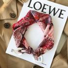 Printed Silk Scarf B005 - Red - One Size