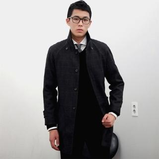 Wool Blend Check Coat