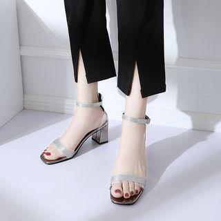 Chunky Heel Glittered Sandals
