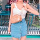Buttoned Denim Wrap Miniskirt