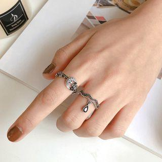 925 Sterling Silver Moon / Wave Open Ring