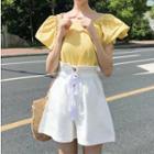 Plain Short-sleeve Blouse / High-waist A-line Shorts
