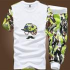 Set: Print T-shirt + Camouflage Cropped Sweatpants