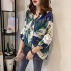 Crochet Trim Leaf Print 3/4 Sleeve Shirt
