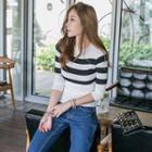 Stripe Slim-fit Knit Top