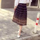 Patterned Pleated Chiffon Skirt