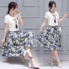 Set: T-shirt With Scarf + A-line Skirt