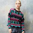 Fringed Patterned Knit Top