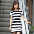 Short-sleeve Lace Trim Dress