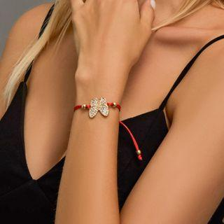 Rhinestone Butterfly Red String Bracelet