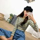 Ribbed Stripe Slim-fit T-shirt