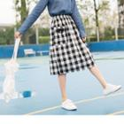 Double Pocket Plaid Skirt