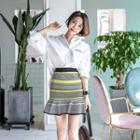 Frilled-hem Striped Skirt