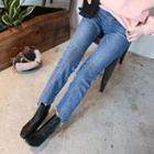 Seam-trim Washed Straight-cut Jeans