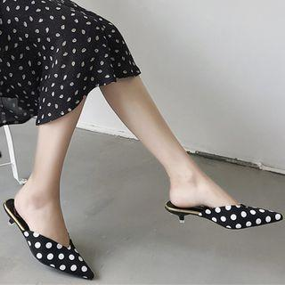 Faux Leather Polka Dot Pointed Kitten Heel Mules