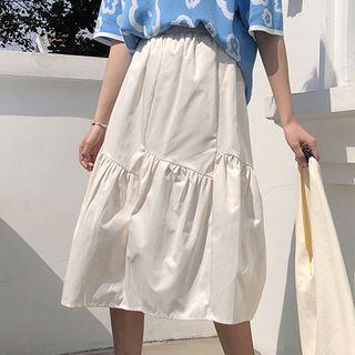 Plain A-line Midi Skirt Off-white - One Size