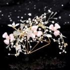 Wedding Set: Flower Hair Clip + Ear Clip White - One Size