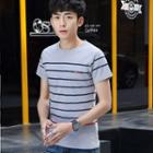 Round Neck Short-sleeve Striped T-shirt