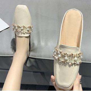 Faux Pearl Mule Loafers