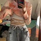 Dye Print Long-sleeve Crop Top / Lace Up Camisole
