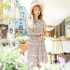 Floral Pattern Pleated-hem Tank Dress