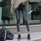 Lettering-trim Washed Jeans